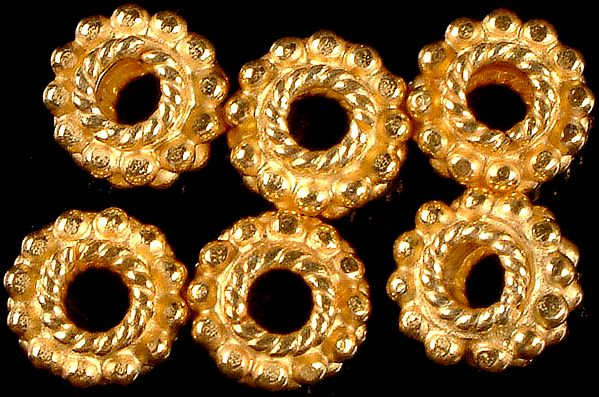Gold Plated Beads with Granulation and Knotted Rope (Price Per Pair)