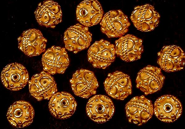Gold Plated Beads with Knotted Rope