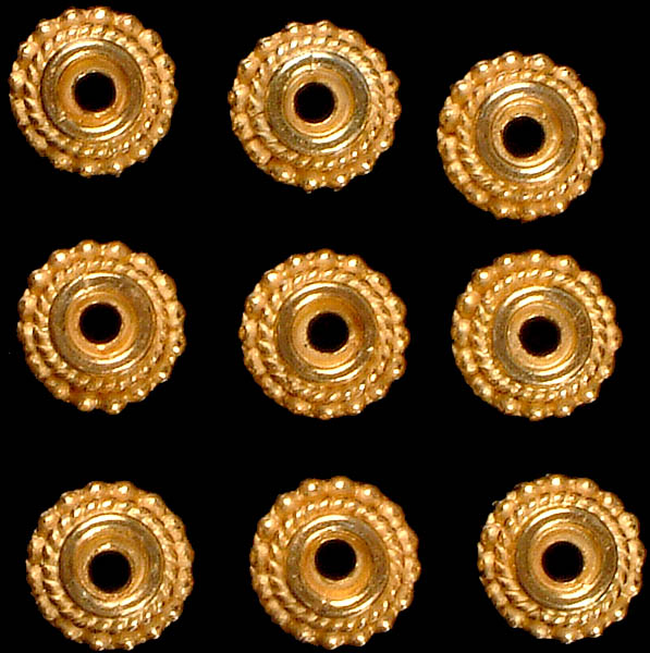 Gold Plated Caps with Knotted Rope (Price Per Pair)