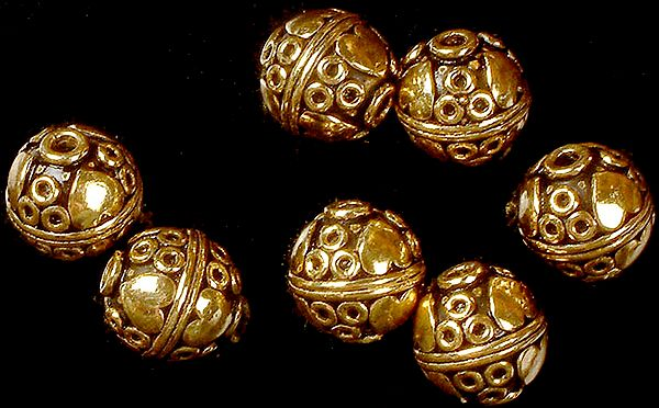 Gold Plated Circular Beads (Price per Pair)