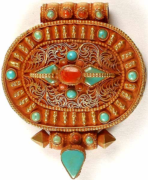 Gold Plated Filigree Gau Box Pendant from Tibet