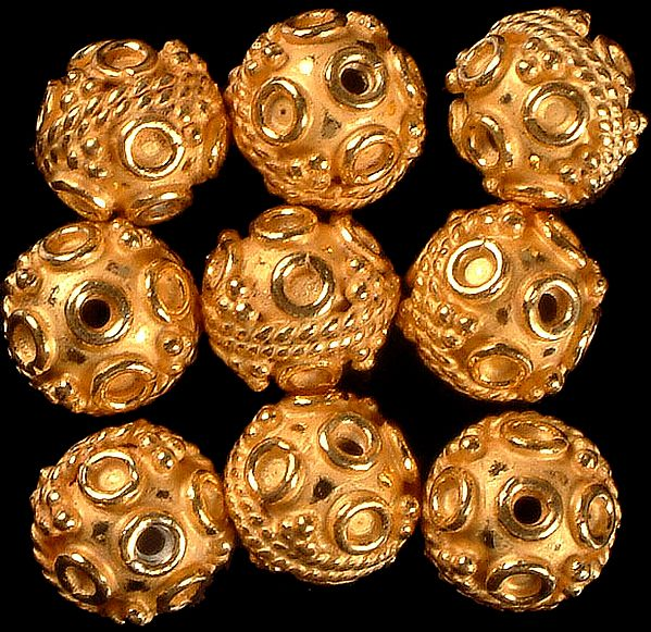 Gold Plated Fine Beads with Knotted Rope and Wirework (Price Per Pair)