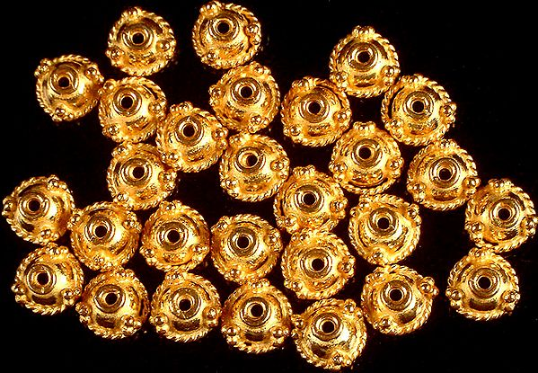 Gold Plated Fine Caps with Knotted Rope (Price Per Four Pieces)