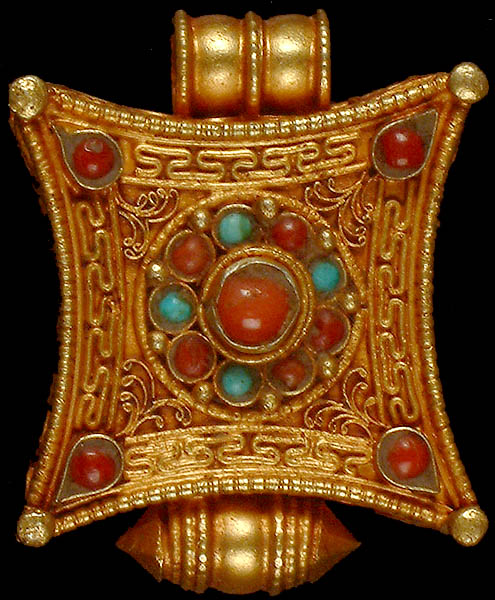 Gold Plated Mandala Gau Box Pendant