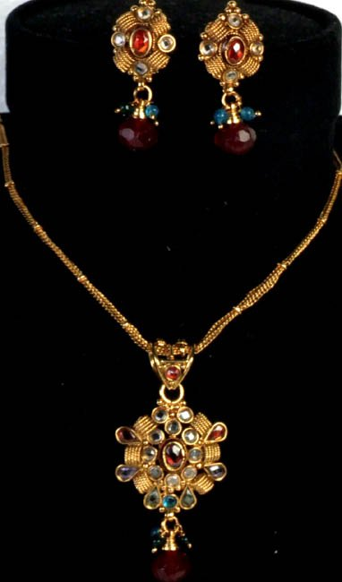 Golden Polki Necklace and Earrings Set with Multi-Color Cut Glass