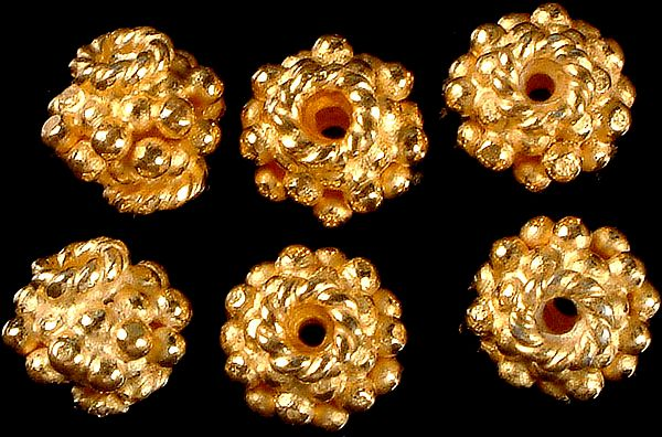 Granulated Gold Plated Beads with Knotted Rope (Price Per Pair)