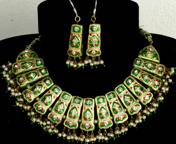 Green and Golden Bridal Necklace and Earrings Set with Cut Glass