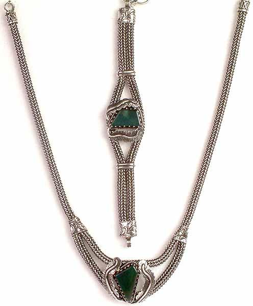 Green Onyx Necklace & Bracelet Set