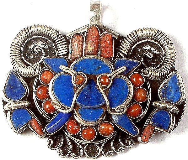 Inlay Lapis Lazuli Mahakala Head Pendant with Coral