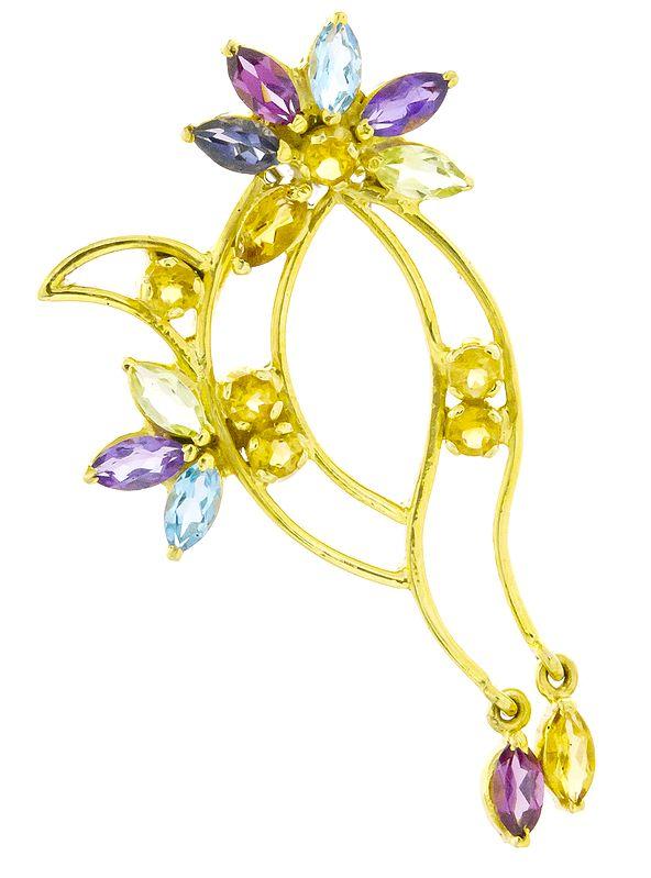 Designer Gold Pendant with Faceted Gemstones