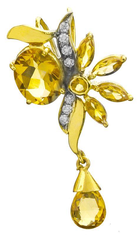 Superfine Citrine Gold Pendant with Diamonds