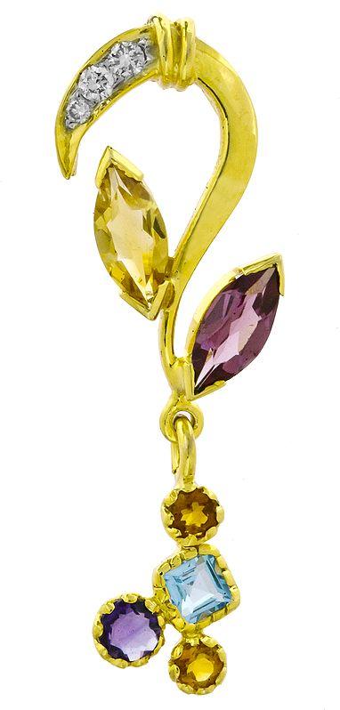 Designer Gold Pendant with Fine Cut Gemstones