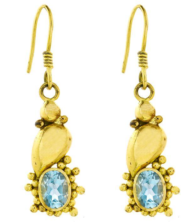 Faceted Blue Topaz Earrings