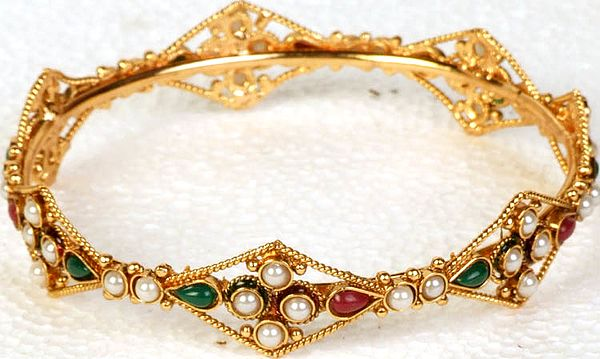 Designer Bangle with Faux Ruby and Emeralds