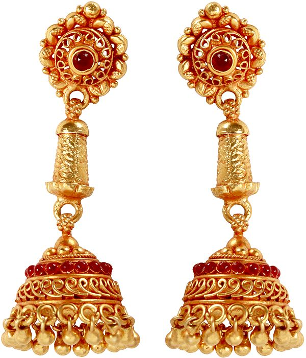 Jhumka Earrings (South Indian Temple Jewelry)