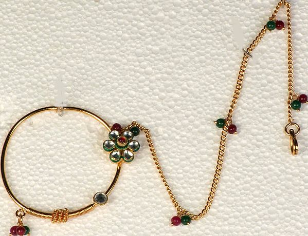 Kundan Bridal Nath with Faux Emerald and Rubies (Nose Chain)