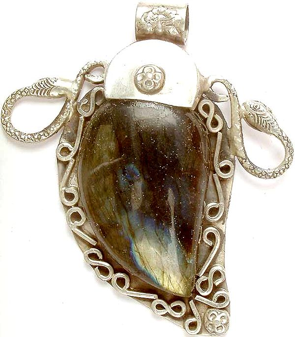 Labradorite Pendant with Serpents
