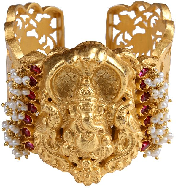 Lord Ganesha Cuff Bracelet (South Indian Temple Jewelry)