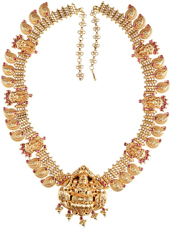 Laskhmi Necklace With Pink Gemstones (South Indian Temple Jewellery)
