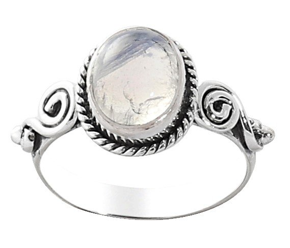 Sterling Silver Ring Studded with Rainbow Moonstone
