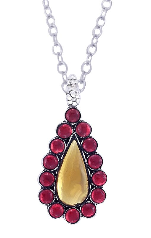 Sterling Silver Pendant with Red and Yellow Colored Glass