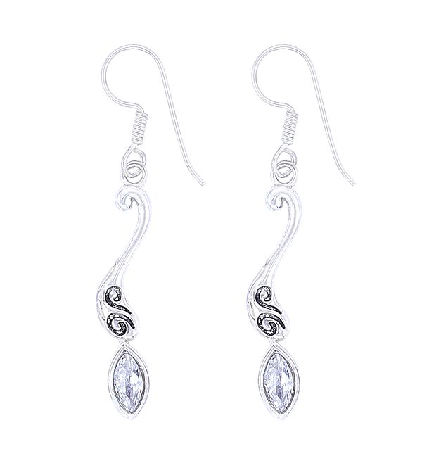 Sterling Silver Earrings Studded with Cubic Zirconia Stone