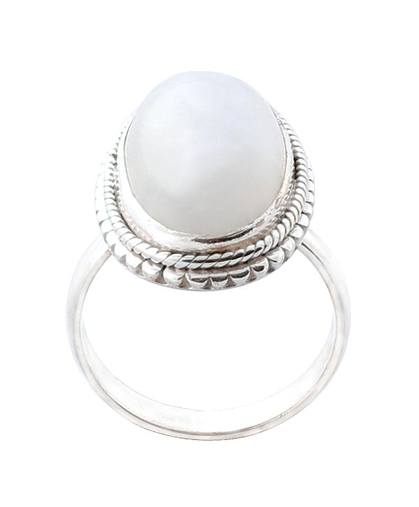 Stylish Sterling Silver Ring with Rainbow Moonstone