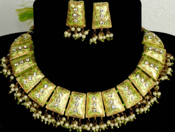 Lime Green Necklace and Earrings Set with Golden Accents