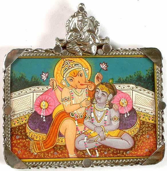 Lord Ganesha Feeding Krishna