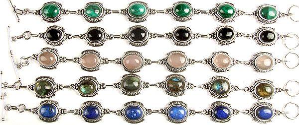 Lot Five Gemstone Bracelets (Malachite, Black Onyx, Rose Quartz, Labradorite and Lapis Lazuli)