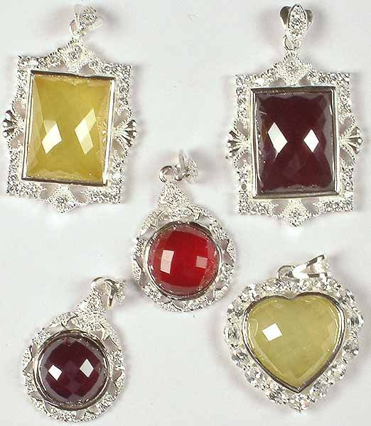 Lot of Five Charming Faceted Cubic Zirconia Pendants
