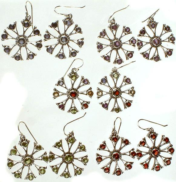 Lot of Five Faceted Gemstone Earrings (Iolite, Amethyst, Multicolor, Peridot, Garnet)