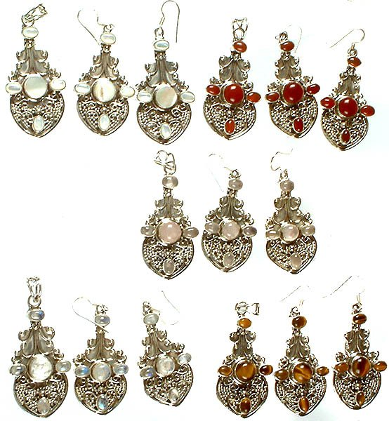 Lot of Five Gemstone Pendants with Earrings Set (Shell, Carnelian, Rose Quartz, Rainbow Moonstone and Tiger Eye)