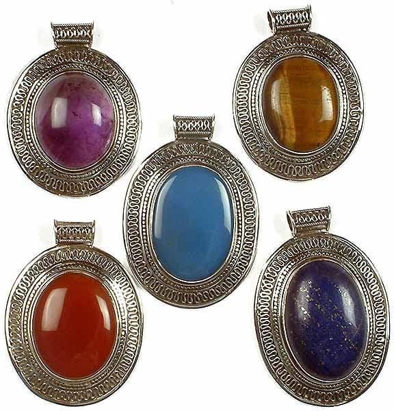 Lot of Five Gemstone Pendants with Filigree<br>(Amethyst, Tiger Eye, Blue Chalcedony, Carnelian & Lapis Lazuli)