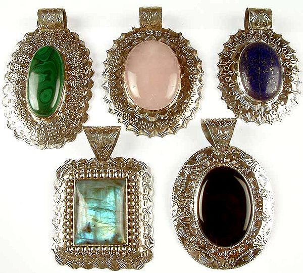 Lot of Five Large Gemstone Pendants
