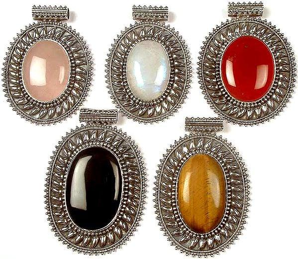 Lot of Five Large Oval Gemstone Pendants<br>(Rose Quartz, Rainbow Moonstone, Carnelian, Black Onyx & Tiger Eye)