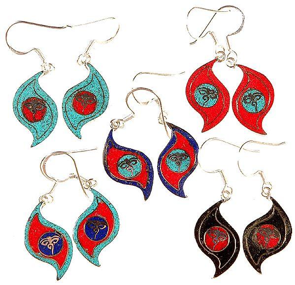 Lot of Five Nepalese Inlay Earrings with Swayambhunath Eyes