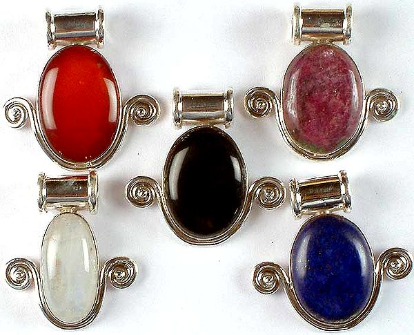 Lot of Five Oval Gemstone Pendants with Spirals