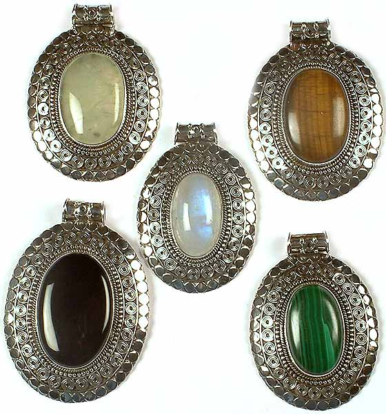 Lot of Five Oval Gemstone Pendants with Spirals<br>(Prehnite, Tiger Eye, Rainbow Moonstone, Black Onyx & Malachite)
