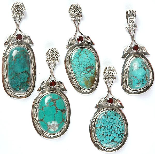 Lot of Five Spider's Web Turquoise Pendants with Garnet and Sterling Leaves