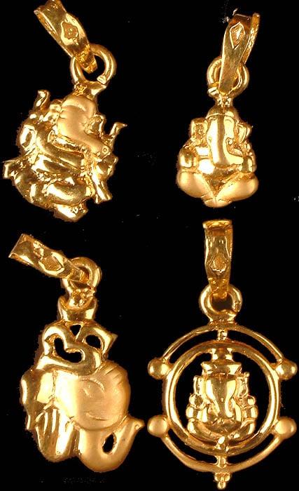 Lot of Four Ganesha Pendants