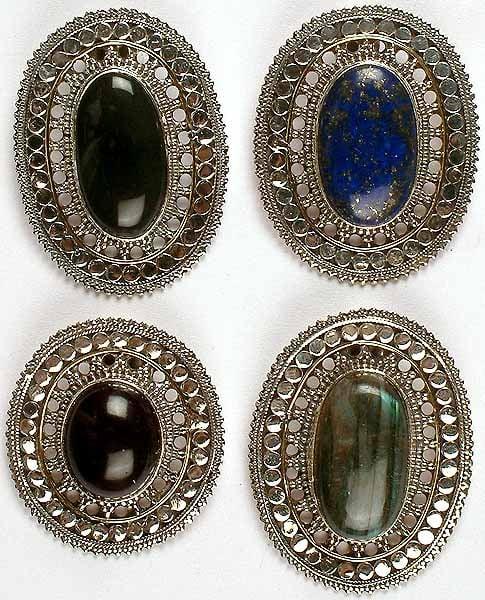 Lot of Four Gemstone Pendants<br>(Black Onyx, Lapis Lazuli, Amethyst & Labradorite)