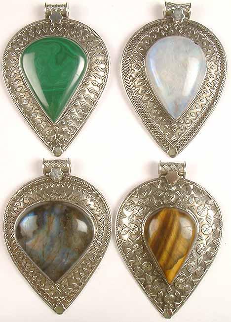 Lot of Four Inverted Tear Drop Gemstone Pendants with Granulation<br>(Malachite, Rainbow Moonstone, Labradorite & Tiger Eye)