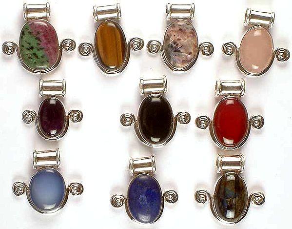 Lot of Ten Gemstone Pendants with Spirals