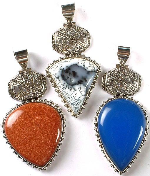 Lot of Three Gemstone Pendants (Dendrite, Sunstone and Blue Chalcedony)