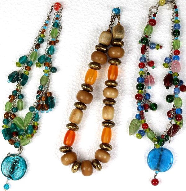 Lot of Three Glass Beaded Necklaces