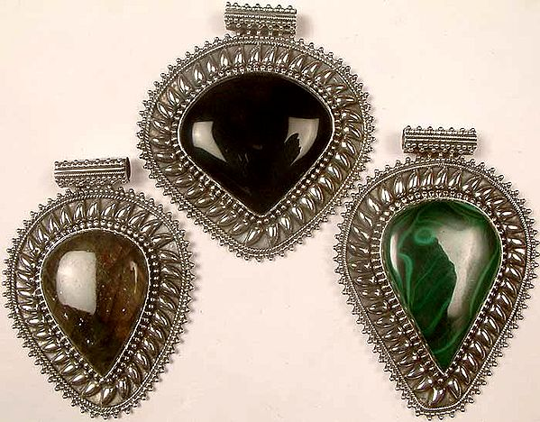 Lot of Three Large Gemstone Pendants<br>(Black Onyx, Labradorite & Malachite)