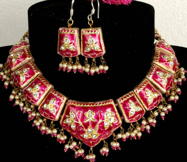 Magenta Mughal Meenakari Necklace and Earrings Set with Floral Motif