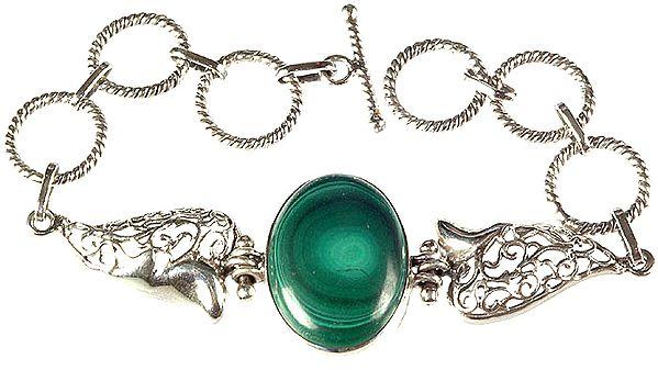 Malachite Oval Bracelet with Lattice