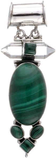 Malachite Pendant with Faceted Crystal